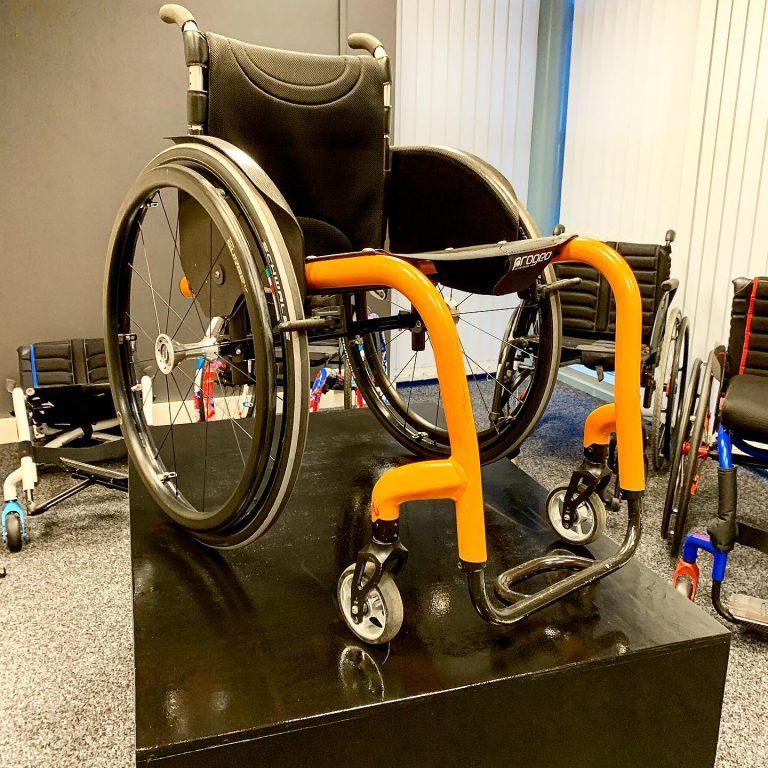 Joker R2 active wheelchair on a podium