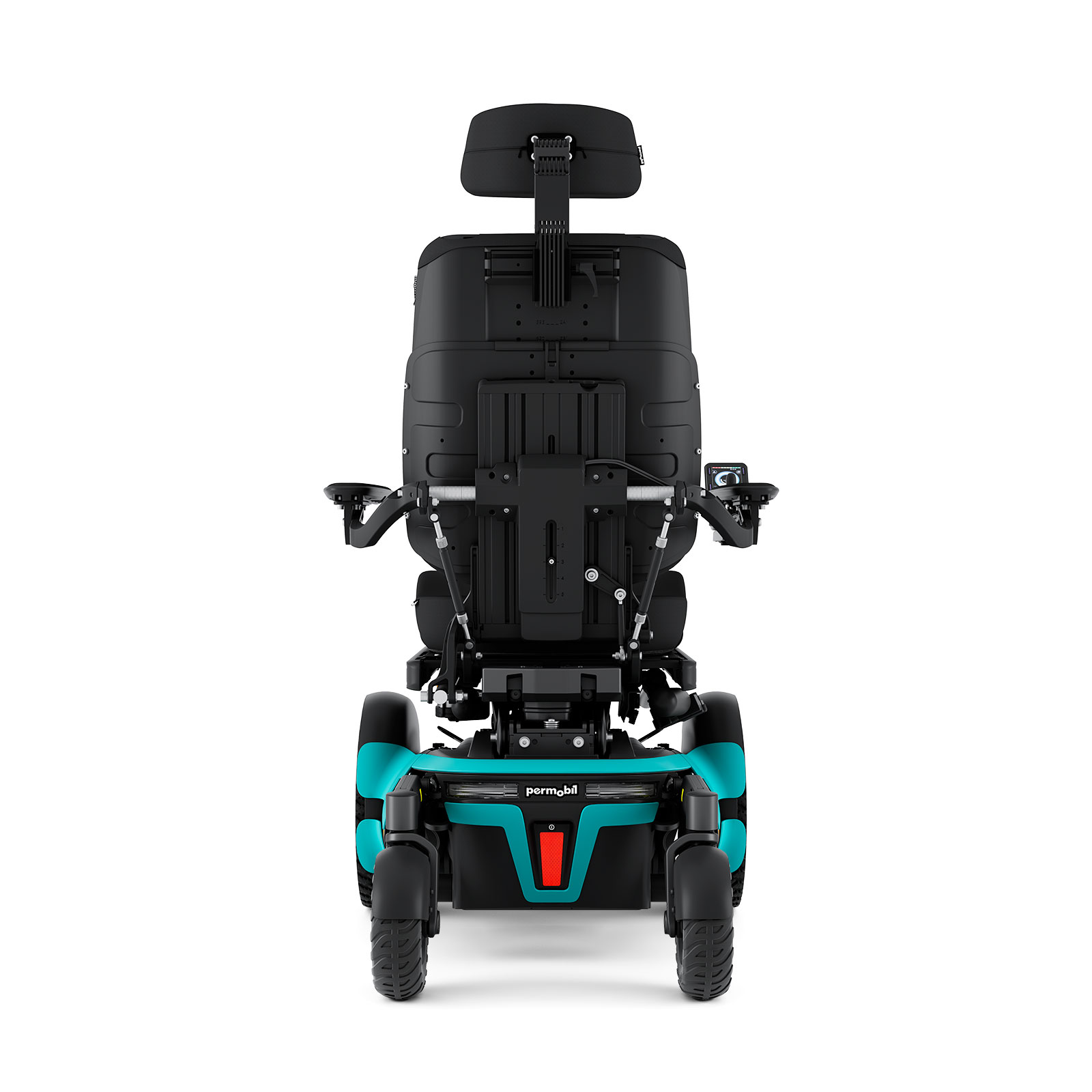 f5 corpus outdoor/indoor powerchair in aqua blue
