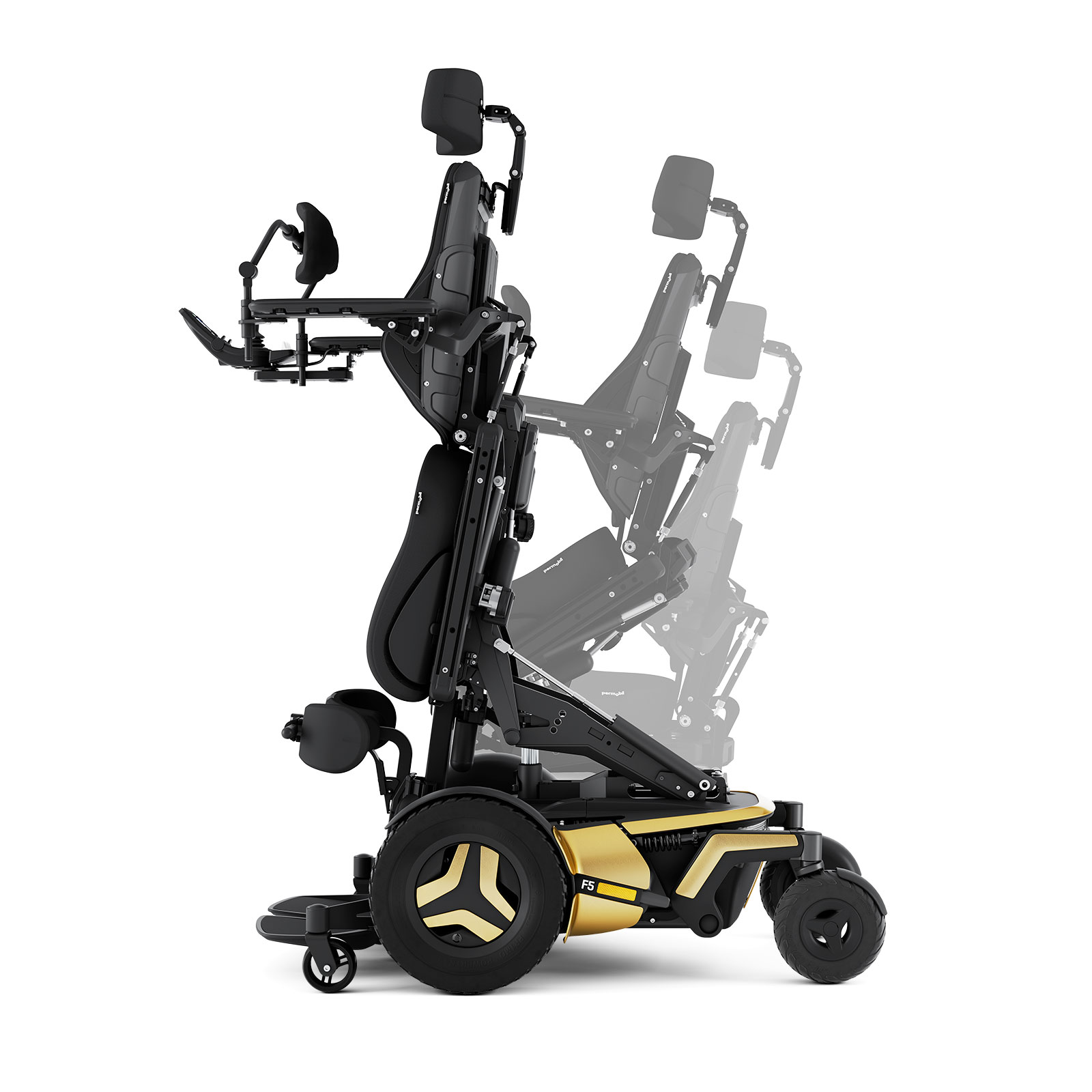 F5 VS Corpus standing powerchair in gold showing the stand function