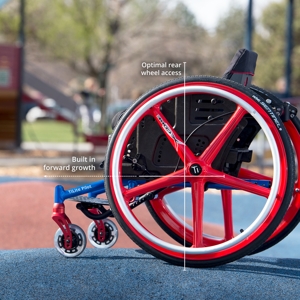 TiLite Pilot paediatric wheelchair showing growth adjustments