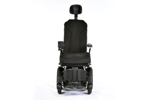 Q300M Mini indoor powerchairs front facing with sedeo lit seating