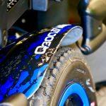 Q300M Mini blue shroud close up indoor powerchairs