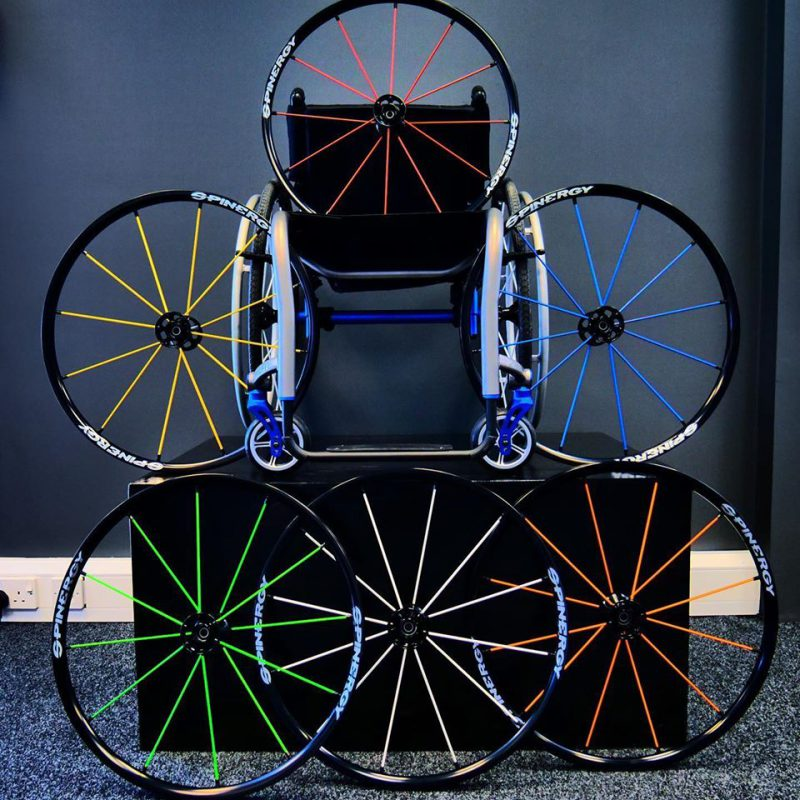 Spinergy LX wheels for an active wheelchair on display