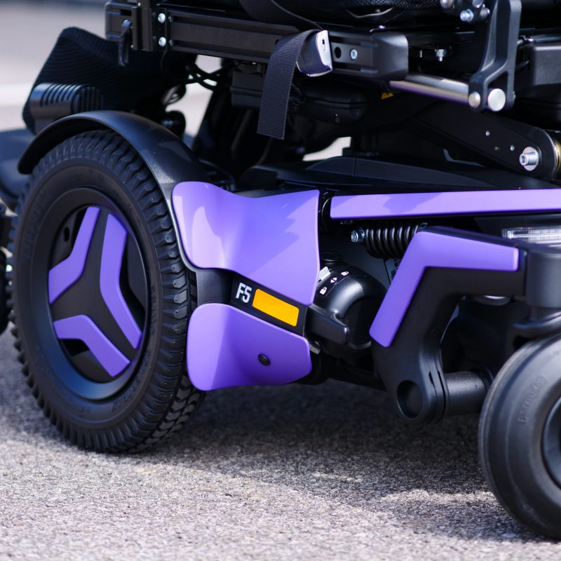 F5 VS standing powerchairs in purple clinical mobility solutions